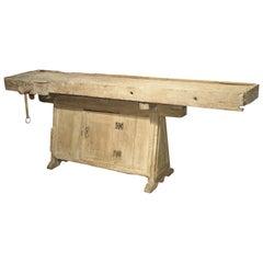 18th Century Italian Whitewashed Pine Work Bench with Lower Storage