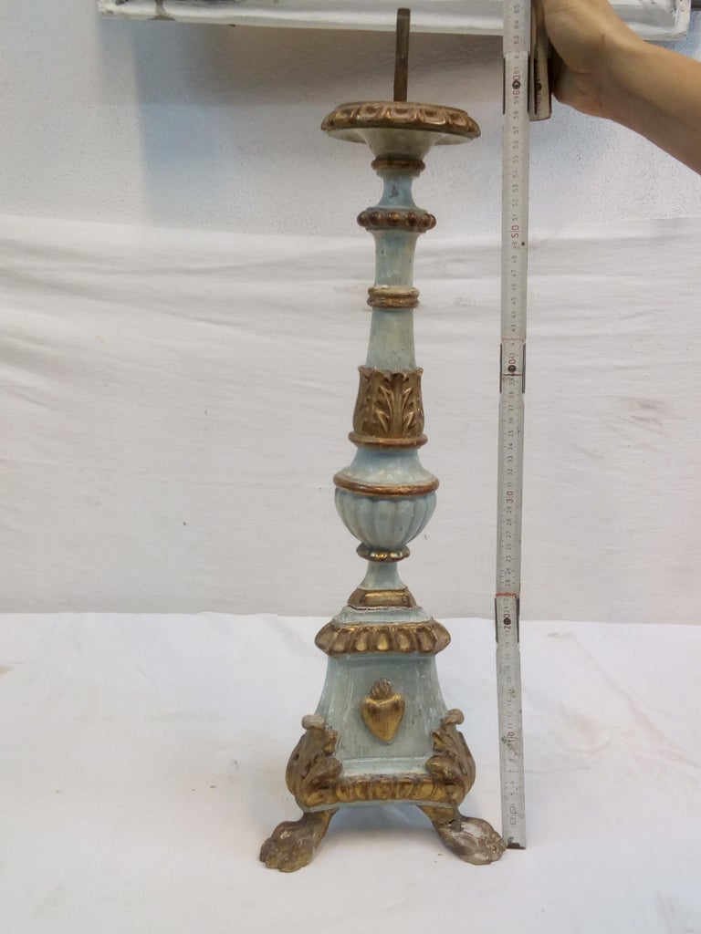 18th Century Italian Wood Candelabra of Order of the Sacred Heart For Sale 15
