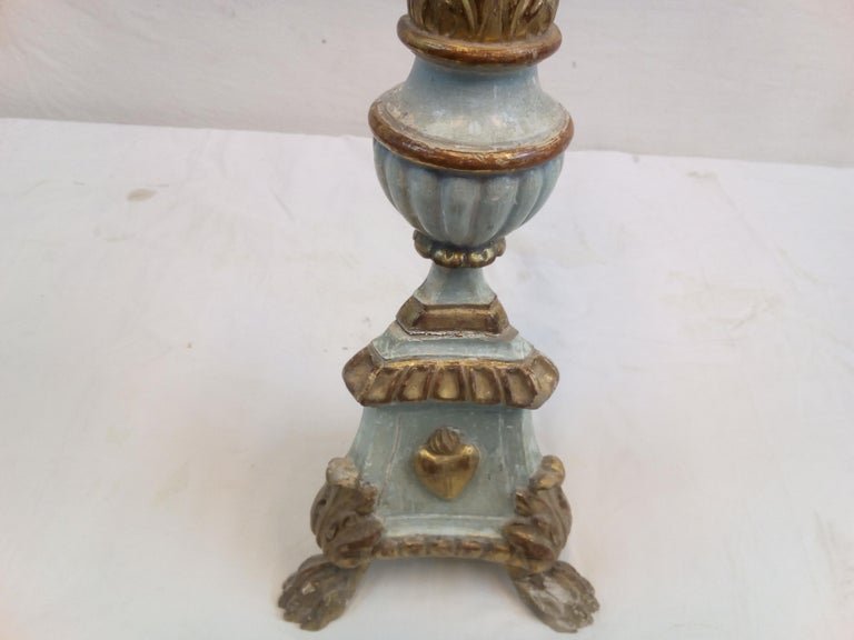 18th Century Italian Wood Candelabra of Order of the Sacred Heart For Sale 2