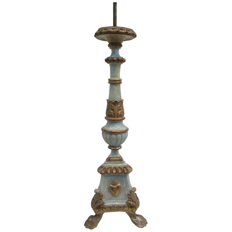 18th Century Italian Wood Candelabra of Order of the Sacred Heart For Sale