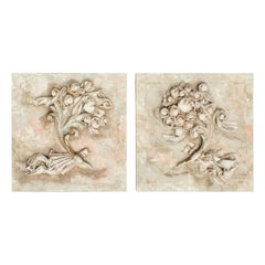 18th Century Italian Wood Fragments with Sculpted Linen Flowers