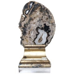 18th Century Italian Wood Molding Decorated with a Polished Agate Slice