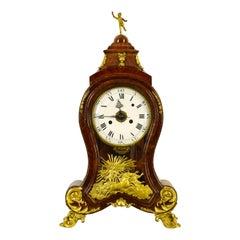 18th Century, Italian Wood Ringtone and Alarm Table Clock with Gilt Bronze