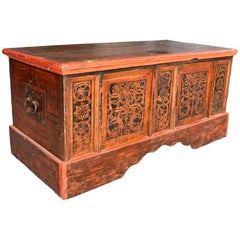 18th Century Italian Wooden Painted Chest with Original Ironwork