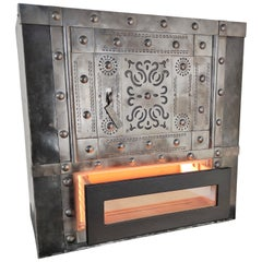 18th Century Italian Wrought Iron Studded Antique Safe Cigar Humidor Bar Cabinet