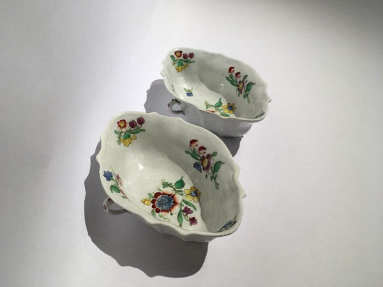 18th Century Italy Richiard Ginori Doccia Pair of Porcelain Sauce Bowls For Sale 13