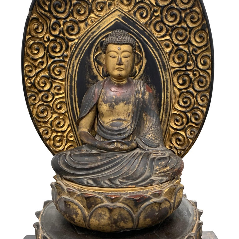 Hand-Carved Edo Period Japanese Bodhisattva Shrine For Sale
