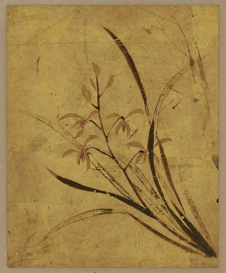 A set of 5 Japanese floral paintings from the 18th century. Each painted with mineral pigments directly applied to gold leaf. They were originally designed to be mounted on the leaves of a book; to be appreciated both for their exceptional beauty