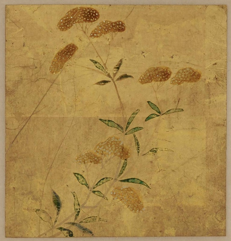 Hand-Painted 18th Century Japanese Floral Paintings, Set of 5, Mineral Pigments on Gold Leaf For Sale