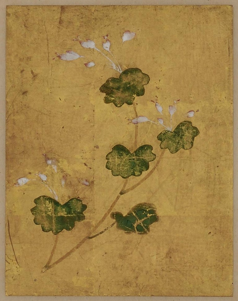 18th Century Japanese Floral Paintings, Set of 5, Mineral Pigments on Gold Leaf In Good Condition For Sale In Kyoto, JP