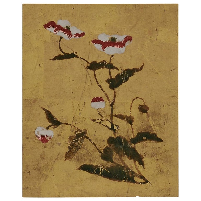 18th Century Japanese Floral Paintings, Set of 5, Mineral Pigments on Gold Leaf For Sale