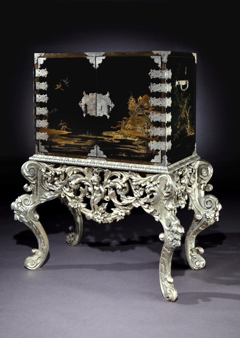 18th Century Japanese Lacquer Cabinet on William and Mary Silvered Stand For Sale 1