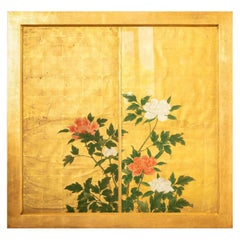 18th Century Japanese Painting of Red and White Peonies on a Gold Leaf Ground