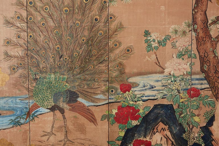 18th Century Japanese Peacock Screen Kano School For Sale 3
