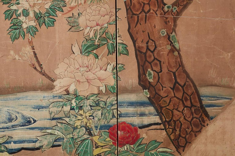 18th Century Japanese Peacock Screen Kano School For Sale 4