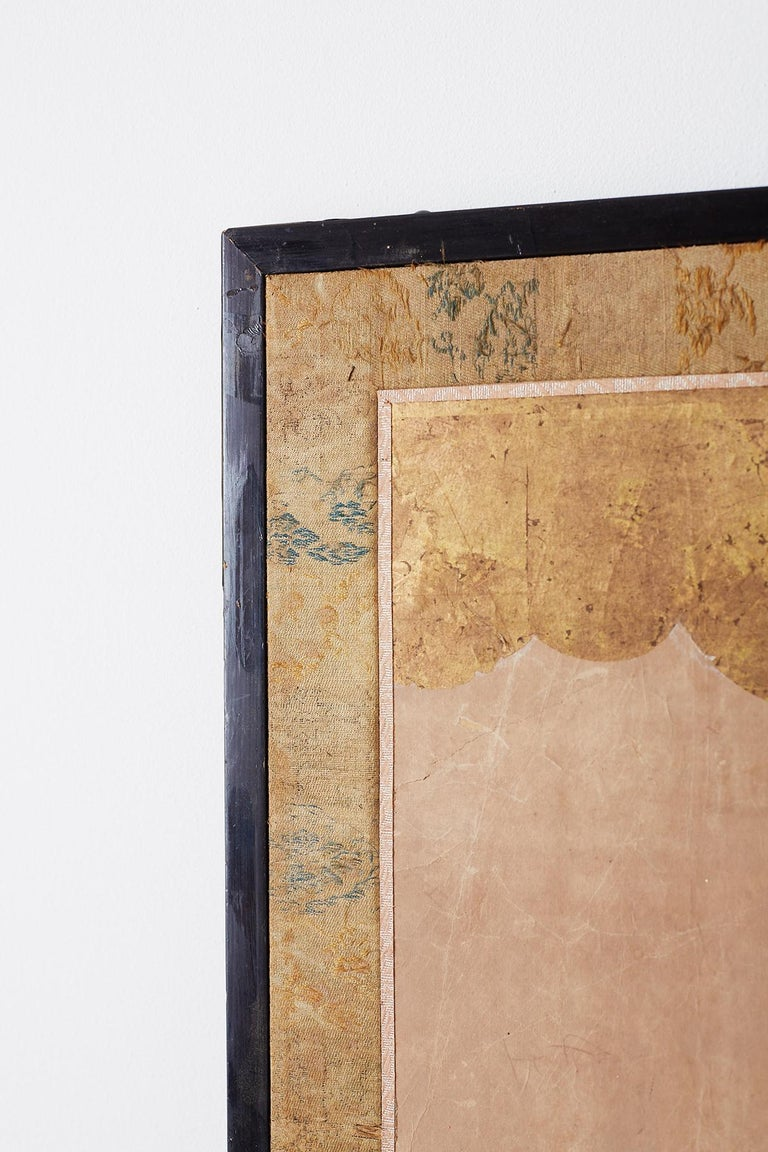 18th Century Japanese Peacock Screen Kano School For Sale 5