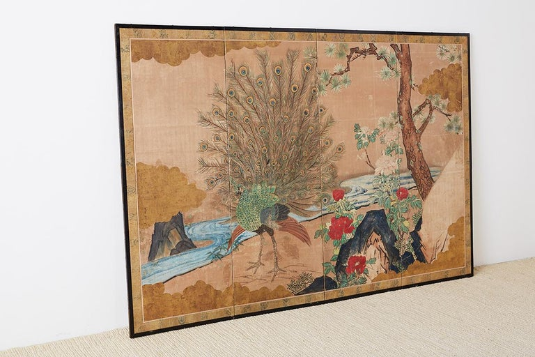 18th Century Japanese Peacock Screen Kano School For Sale 9
