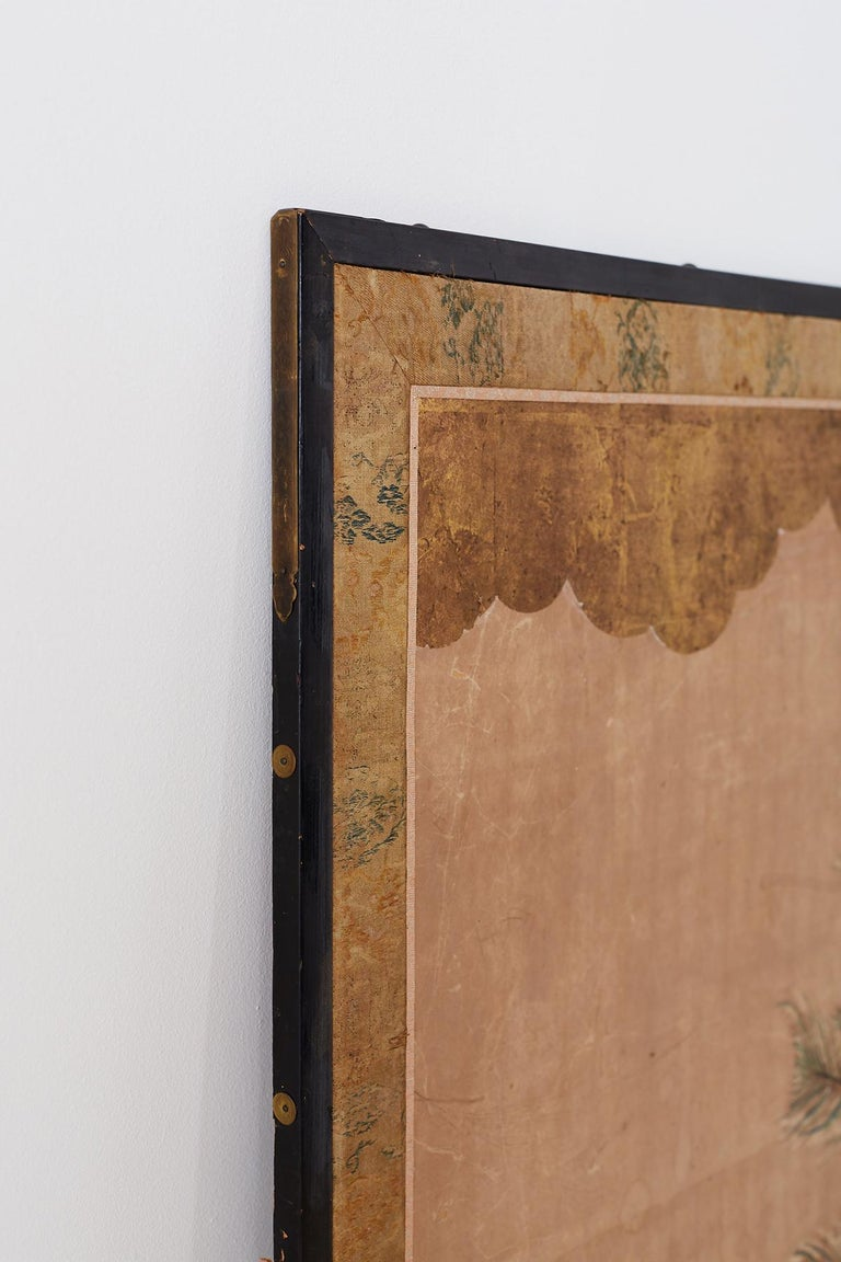 18th Century Japanese Peacock Screen Kano School For Sale 11