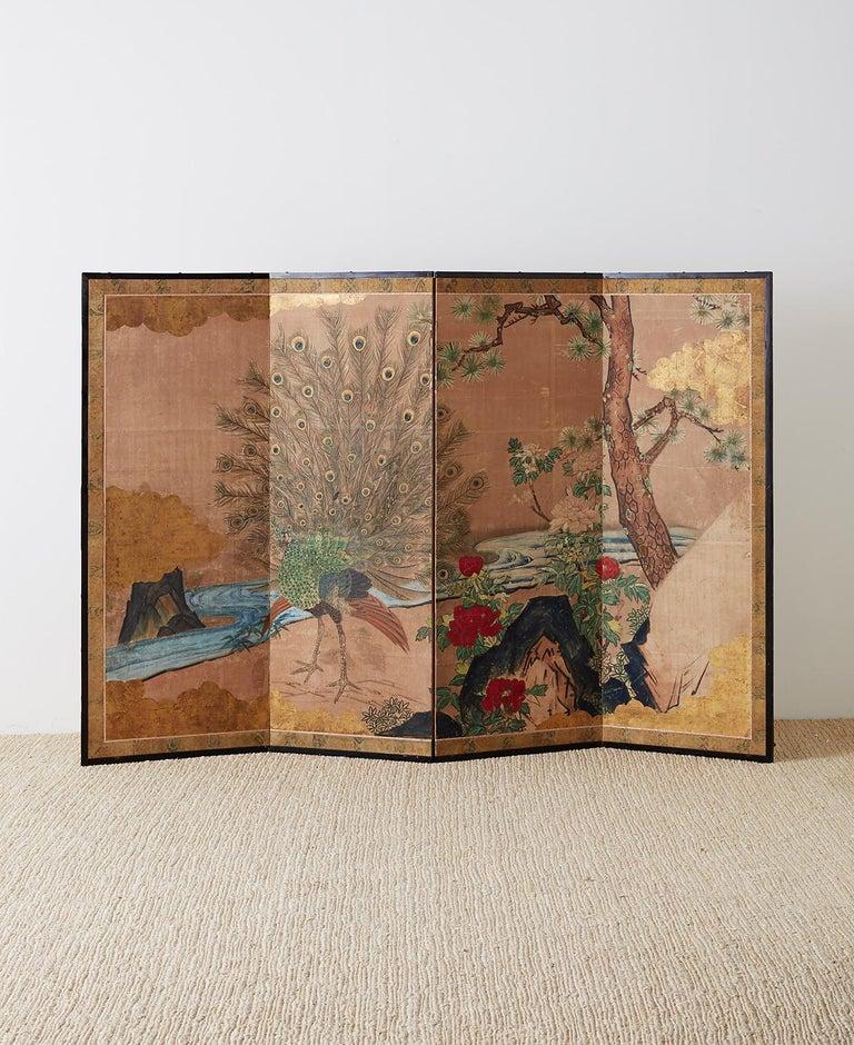 Edo 18th Century Japanese Peacock Screen Kano School For Sale