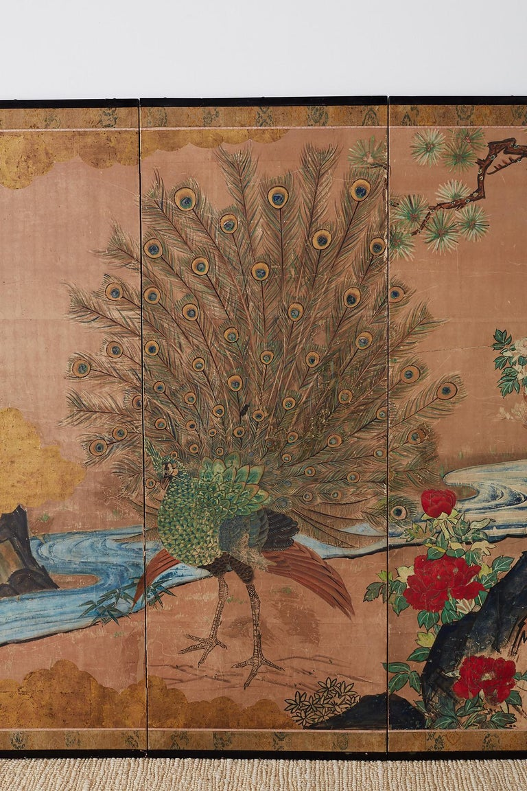 18th Century Japanese Peacock Screen Kano School In Distressed Condition For Sale In Oakland, CA