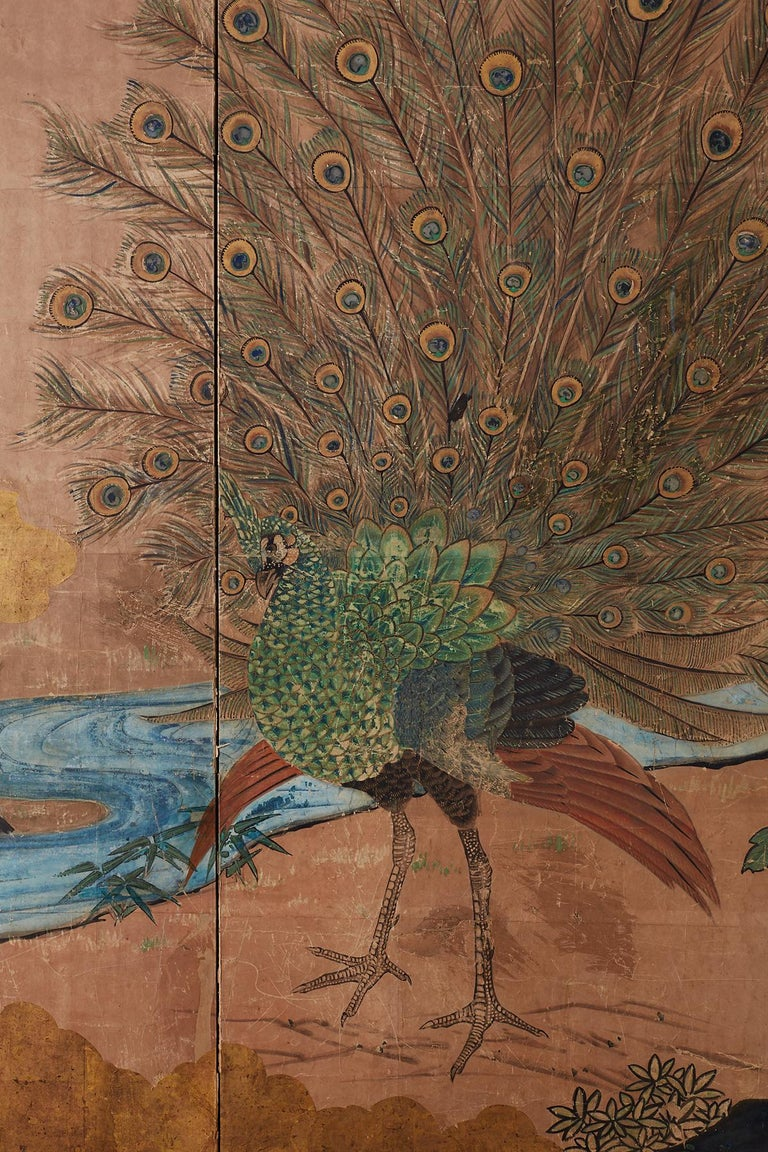 18th Century Japanese Peacock Screen Kano School For Sale 1