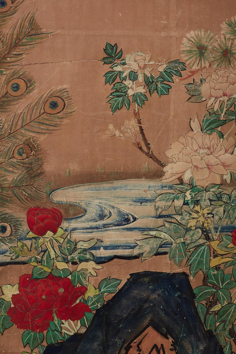 18th Century Japanese Peacock Screen Kano School For Sale 2