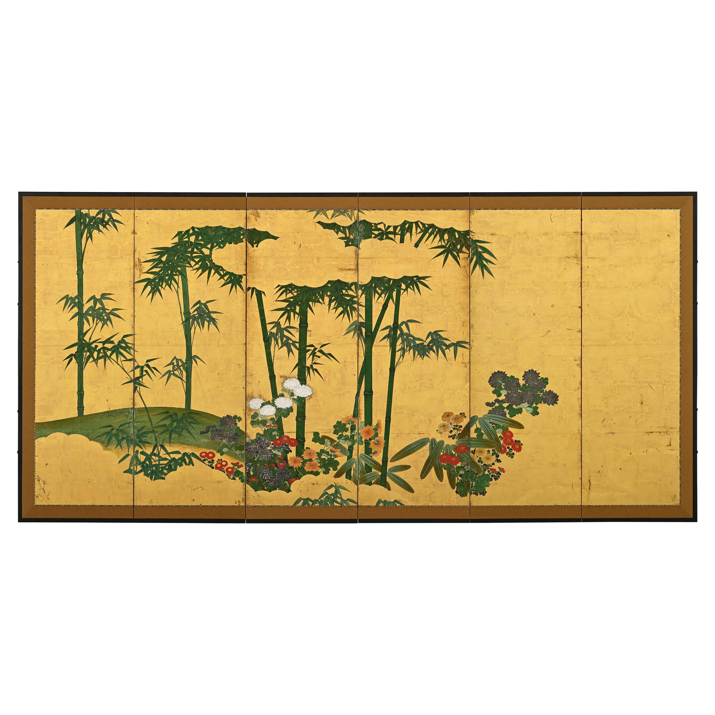 18th Century Japanese Screen, Chrysanthemums & Bamboo on Gold Leaf, Kano School