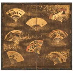 18th Century Japanese Two-Panel Screen Collection of Fans on Gold