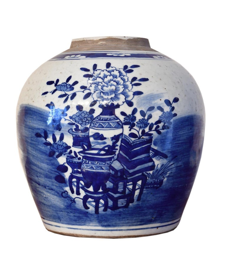Qing Kangxi Blue & White Chinese Porcelain Jar w/ One Hundred Treasures Motif, c 1750 For Sale