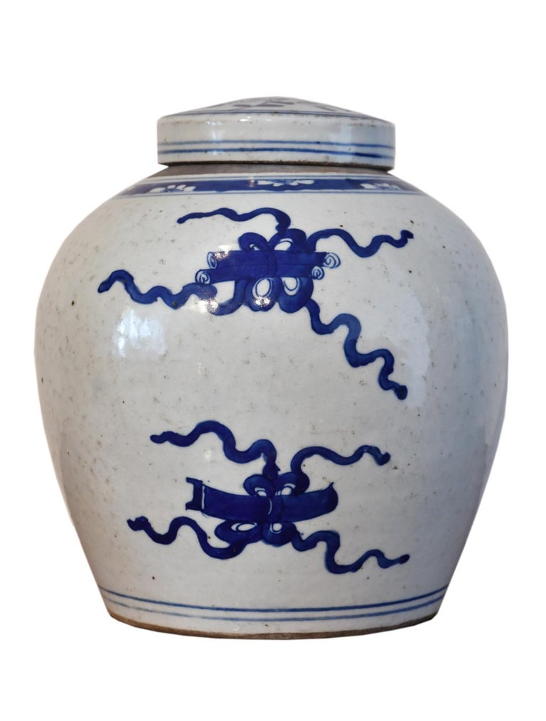 A very lovely Kangxi Chinese porcelain ginger jar with hand-painted, blue overglaze decoration with