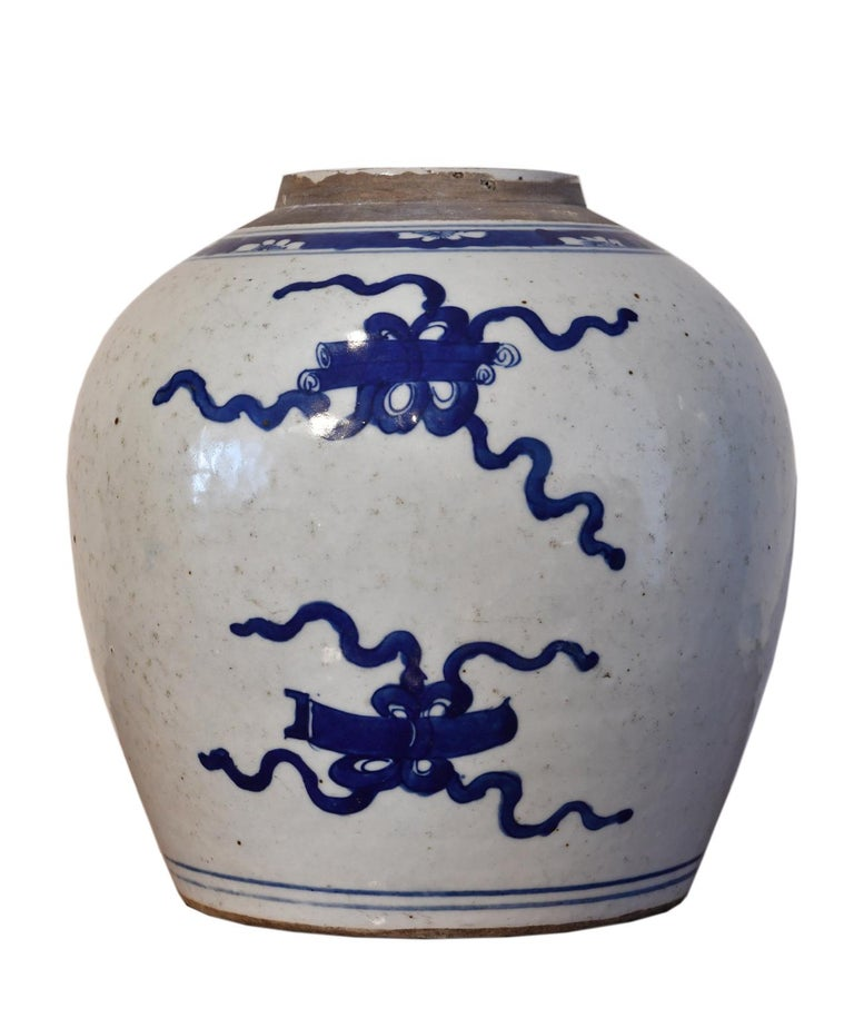 Hand-Painted Kangxi Blue & White Chinese Porcelain Jar w/ One Hundred Treasures Motif, c 1750 For Sale