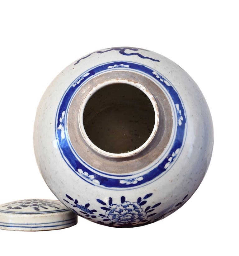 Kangxi Blue & White Chinese Porcelain Jar w/ One Hundred Treasures Motif, c 1750 For Sale 1