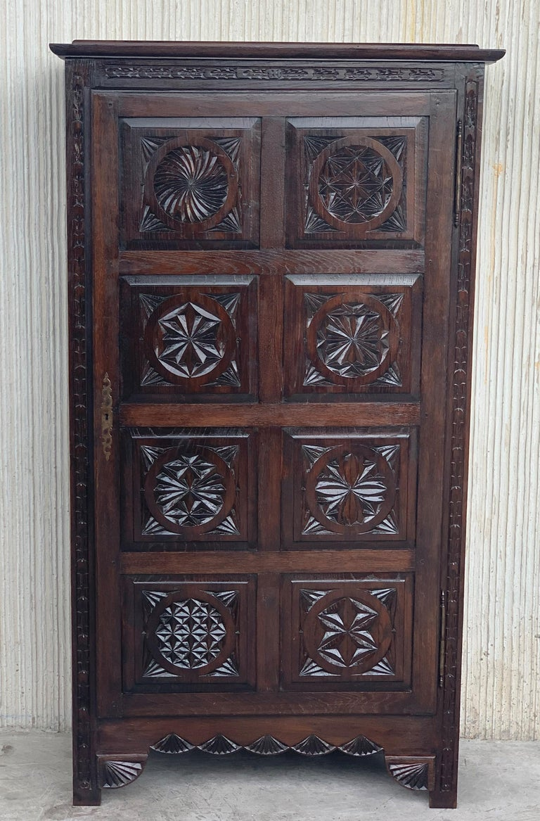 Spanish 18th Century Kitchen Cabinet with One Door, Oak, Castalan Influence, Spain For Sale