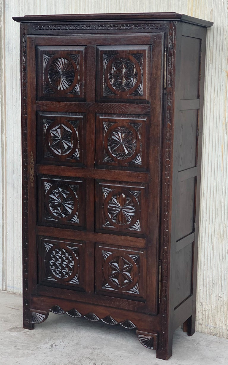 Iron 18th Century Kitchen Cabinet with One Door, Oak, Castalan Influence, Spain For Sale