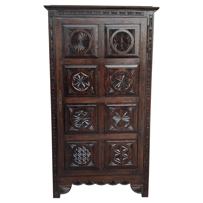 18th Century Kitchen Cabinet with One Door, Oak, Castalan Influence, Spain