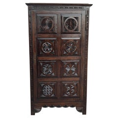 18th Century Kitchen Cabinet with One Door, Oak, Castalan Influence, Spain