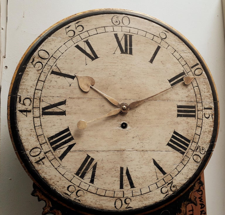 18th Century Lacquer Chinoiserie Tavern Clock For Sale 2