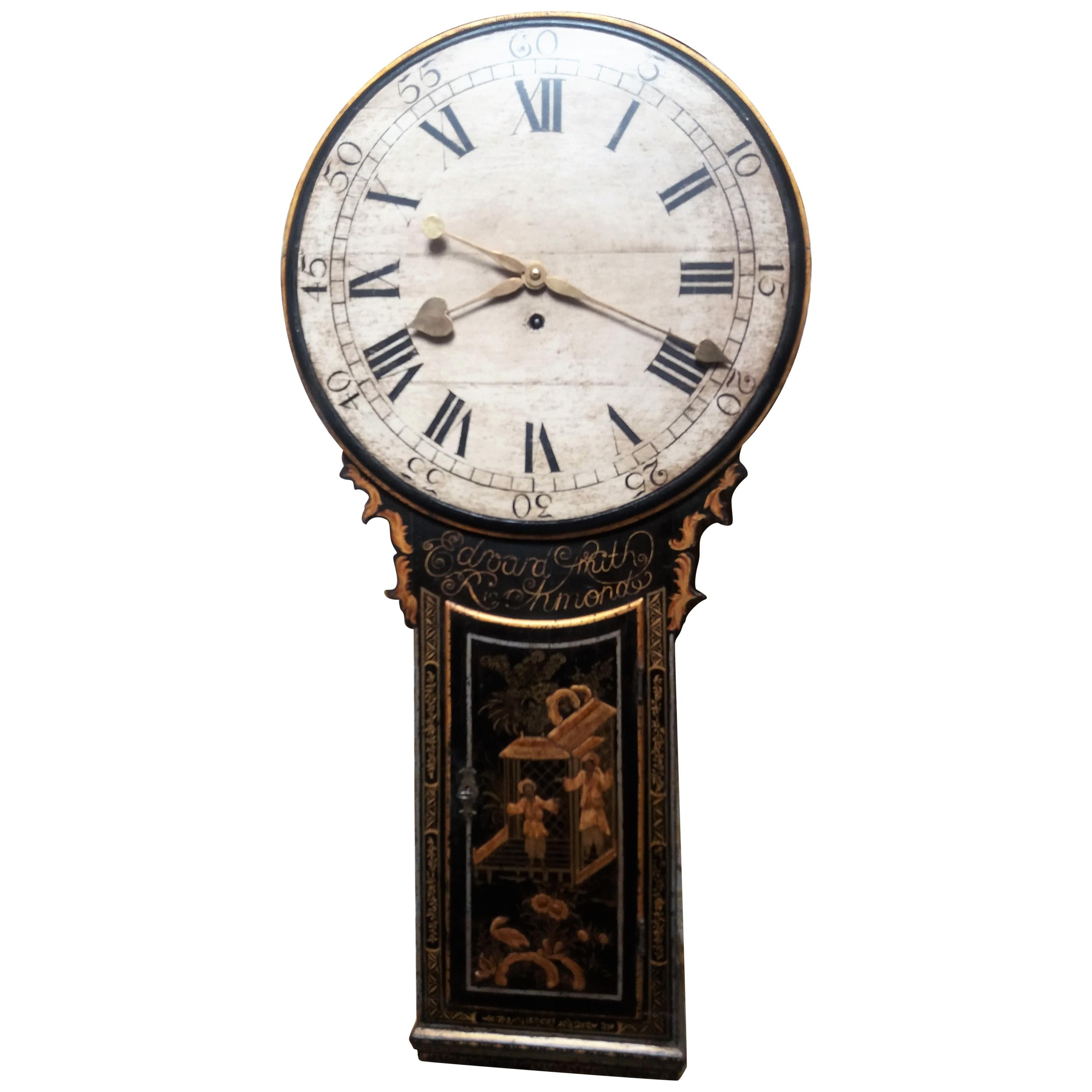 18th Century George III Period Lacquer Chinoiserie Tavern Clock, 1790, Oak Dial