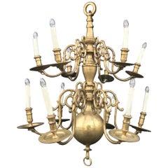 18th Century Large Baroque Brass Chandelier, Dutch, 2-Tiered, 12-Light