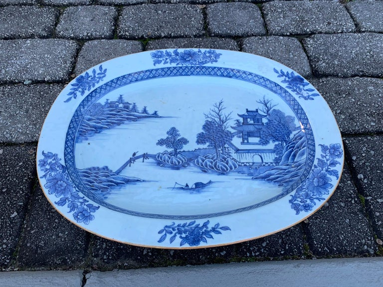 18th Century and Earlier 18th Century Large Chinese Blue and White Charger For Sale