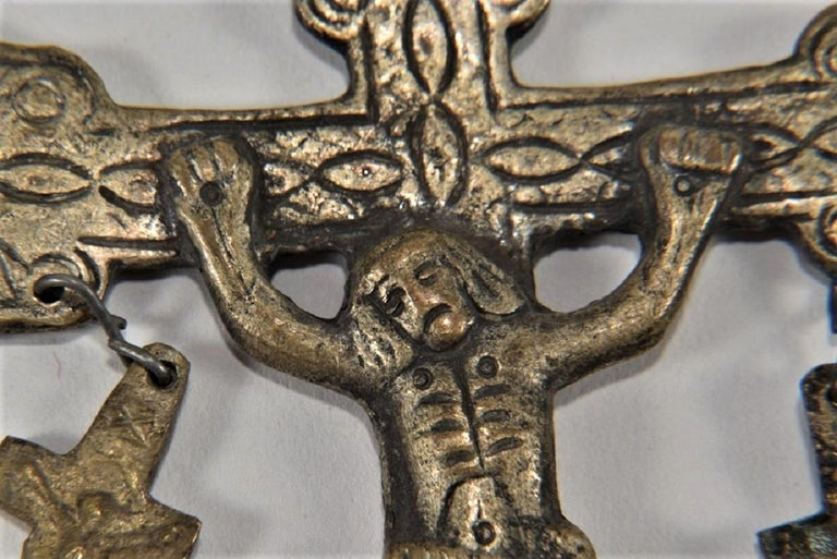Hand-Crafted 18th Century Large Gothic Revival Cross Pendant, Rare Reliquary Crucifix, Italy For Sale