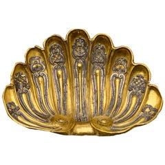 18th Century Italian Baroque Centerpiece Large Gilt Repoussé Brass Shell