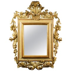 18th Century, Large Italian Rocaille Lacquered and Giltwood Mirror