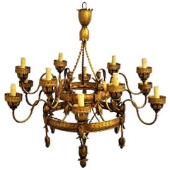 18th Century Large Florentine Folk Art Gilded Iron Twelve-Arm Church Chandelier