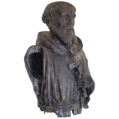 18th Century larger than Life-Size Carved and Painted Bust of Saint Francis