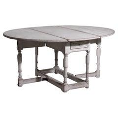 18th Century Light-Grey Swedish Gustavian Pinewood Drop-Leaf Dining Table