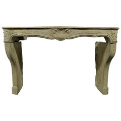 18th Century Limestone Louis XV Fireplace Mantel from France