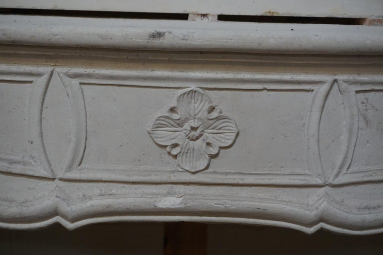 18th Century and Earlier 18th Century Limestone Mantel with Trumeau For Sale