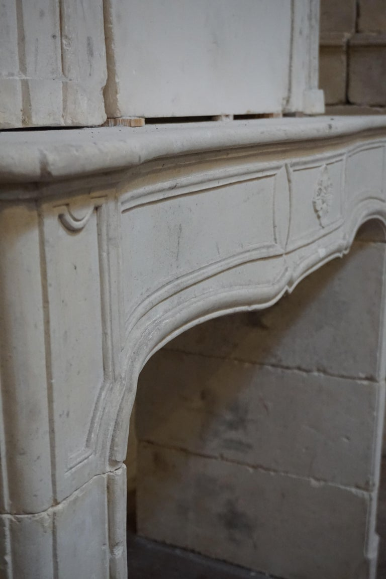 18th Century Limestone Mantel with Trumeau For Sale 1