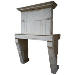 18th Century Limestone Mantel with Trumeau